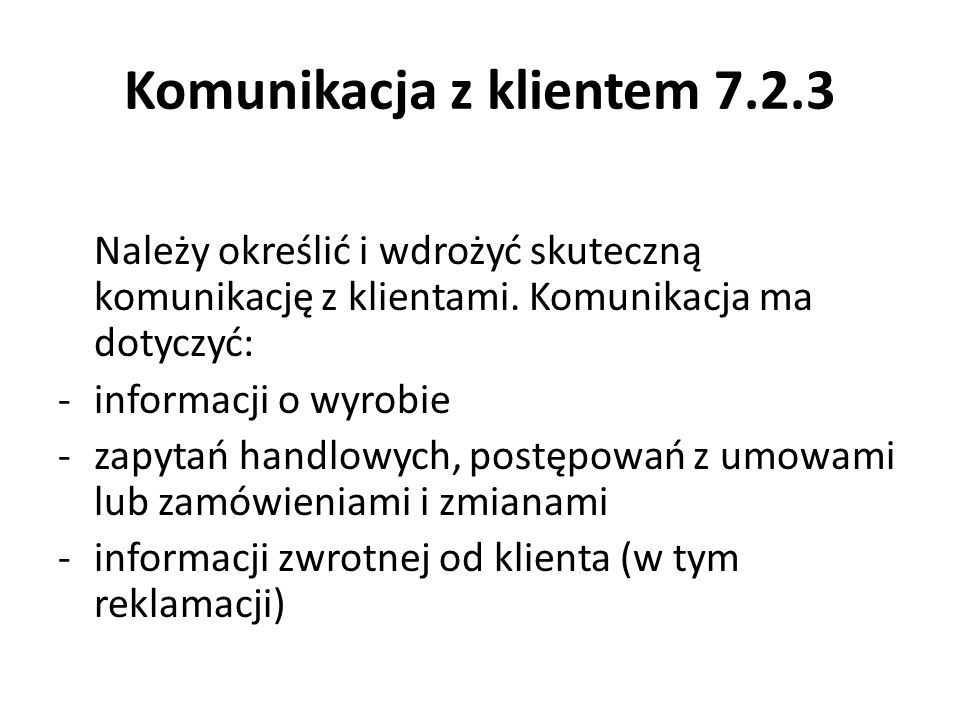 Komunikacja z klientem 7.2.3