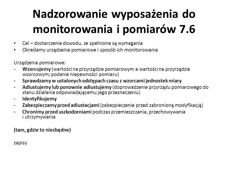 Nadzorowanie wyposażenia do monitorowania i pomiarów 7.6