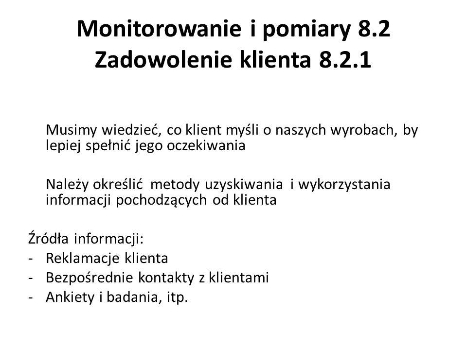Monitorowanie i pomiary 8.2 Zadowolenie klienta 8.2.1