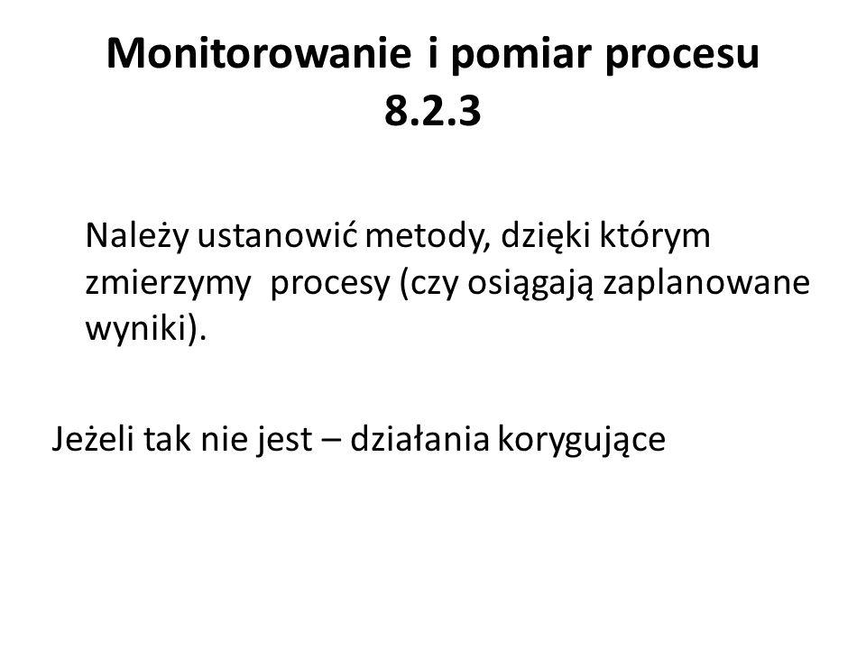 Monitorowanie i pomiar procesu 8.2.3