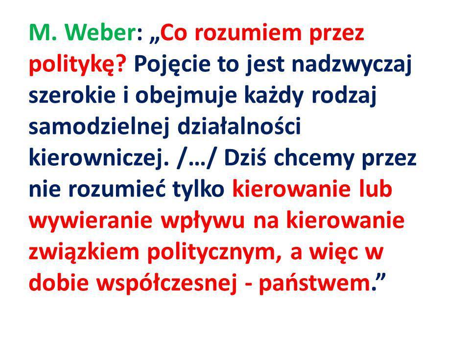 """M. Weber: """"Co rozumiem przez politykę"""