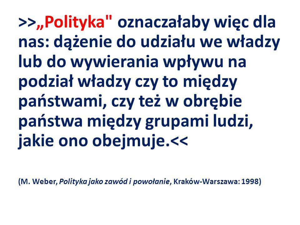 """>>""""Polityka oznaczałaby więc dla nas: dążenie do udziału we władzy lub do wywierania wpływu na podział władzy czy to między państwami, czy też w obrębie państwa między grupami ludzi, jakie ono obejmuje.<<"""