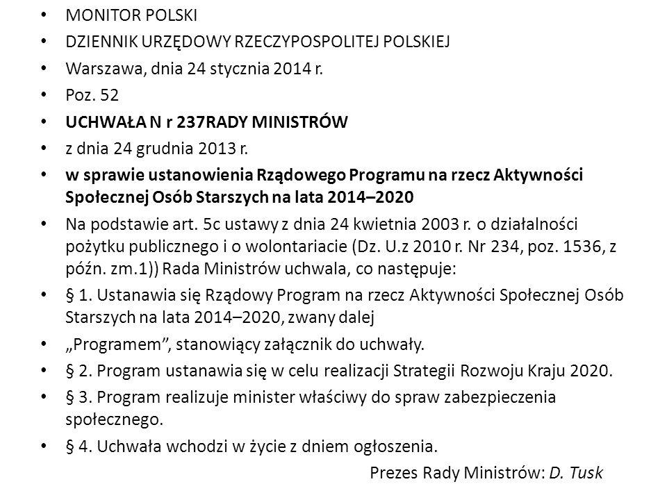 MONITOR POLSKI DZIENNIK URZĘDOWY RZECZYPOSPOLITEJ POLSKIEJ. Warszawa, dnia 24 stycznia 2014 r. Poz. 52.