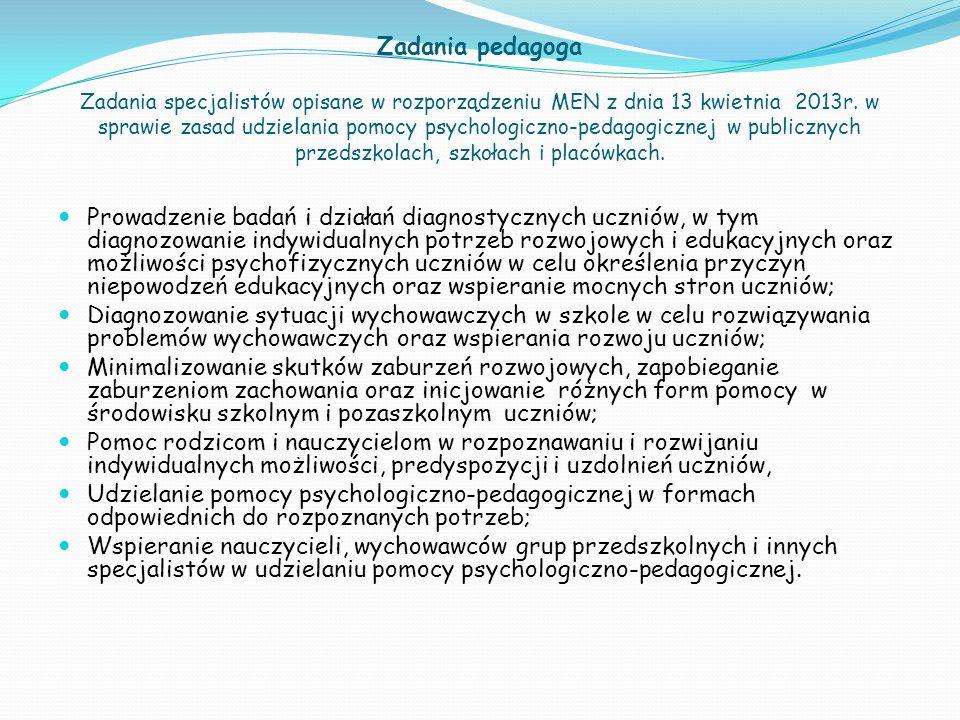 Zadania pedagoga Zadania specjalistów opisane w rozporządzeniu MEN z dnia 13 kwietnia 2013r. w sprawie zasad udzielania pomocy psychologiczno-pedagogicznej w publicznych przedszkolach, szkołach i placówkach.