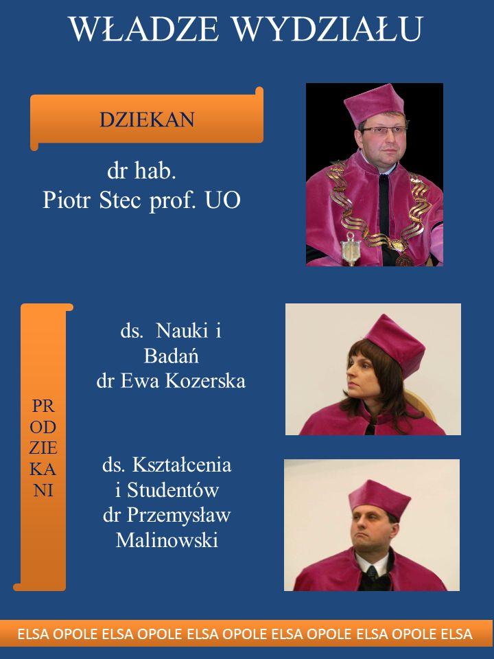 WŁADZE WYDZIAŁU dr hab. Piotr Stec prof. UO DZIEKAN ds. Nauki i Badań
