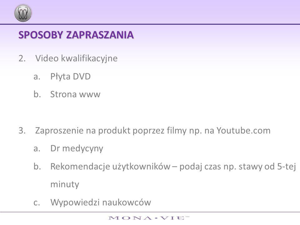 SPOSOBY ZAPRASZANIA Video kwalifikacyjne Płyta DVD Strona www