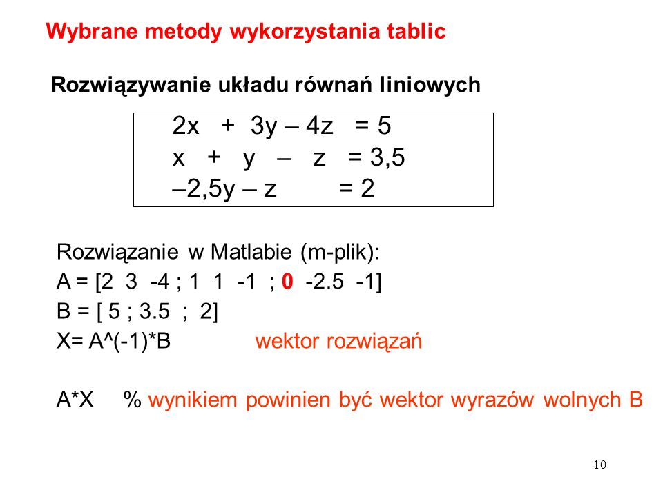 Wybrane metody wykorzystania tablic