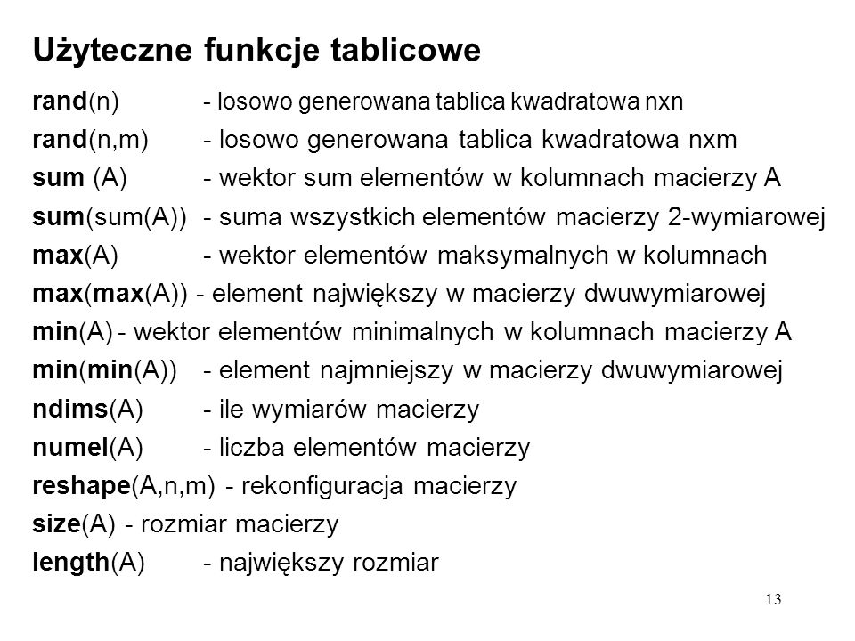 Użyteczne funkcje tablicowe