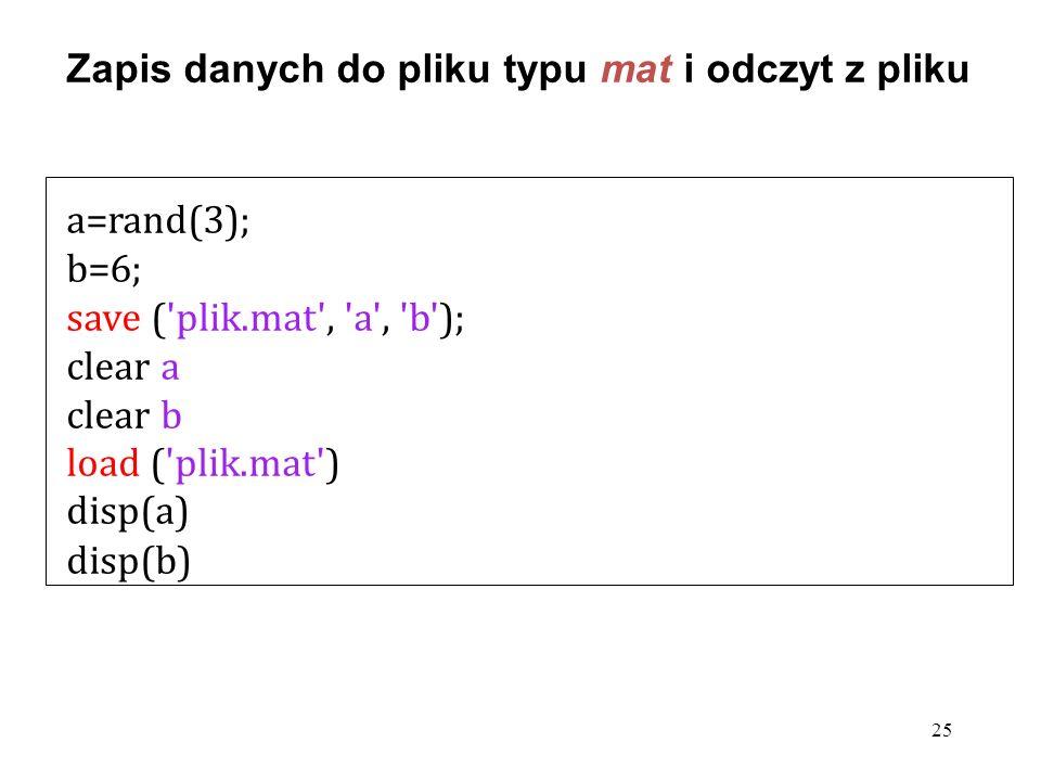 Zapis danych do pliku typu mat i odczyt z pliku