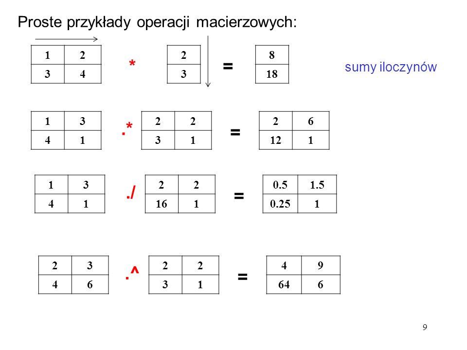* = .* = ./ = .^ = Proste przykłady operacji macierzowych: