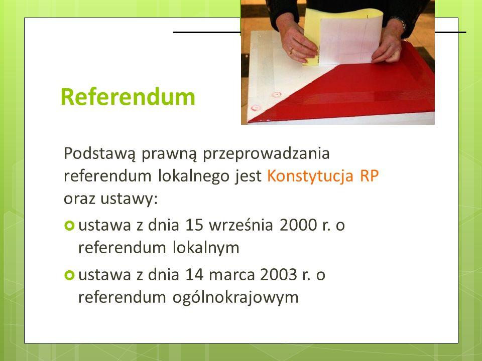 Referendum Podstawą prawną przeprowadzania referendum lokalnego jest Konstytucja RP oraz ustawy: