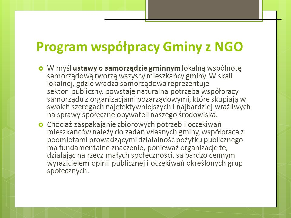 Program współpracy Gminy z NGO