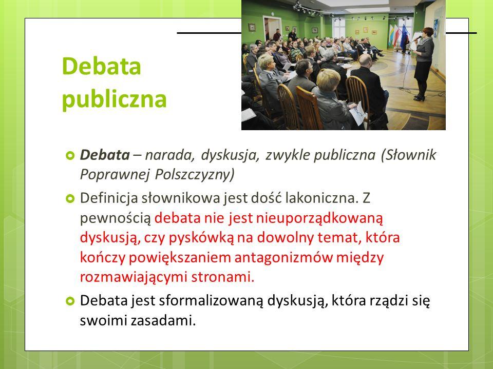 Debata publiczna Debata – narada, dyskusja, zwykle publiczna (Słownik Poprawnej Polszczyzny)
