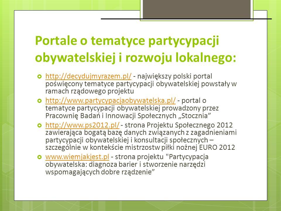 Portale o tematyce partycypacji obywatelskiej i rozwoju lokalnego: