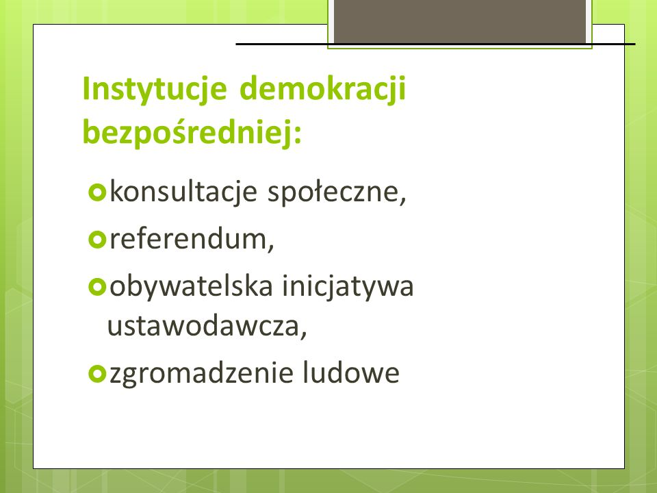 Instytucje demokracji bezpośredniej: