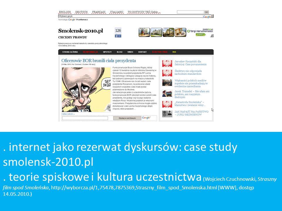 . internet jako rezerwat dyskursów: case study smolensk-2010.pl