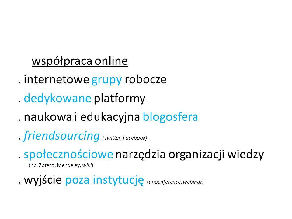 współpraca online. internetowe grupy robocze. dedykowane platformy