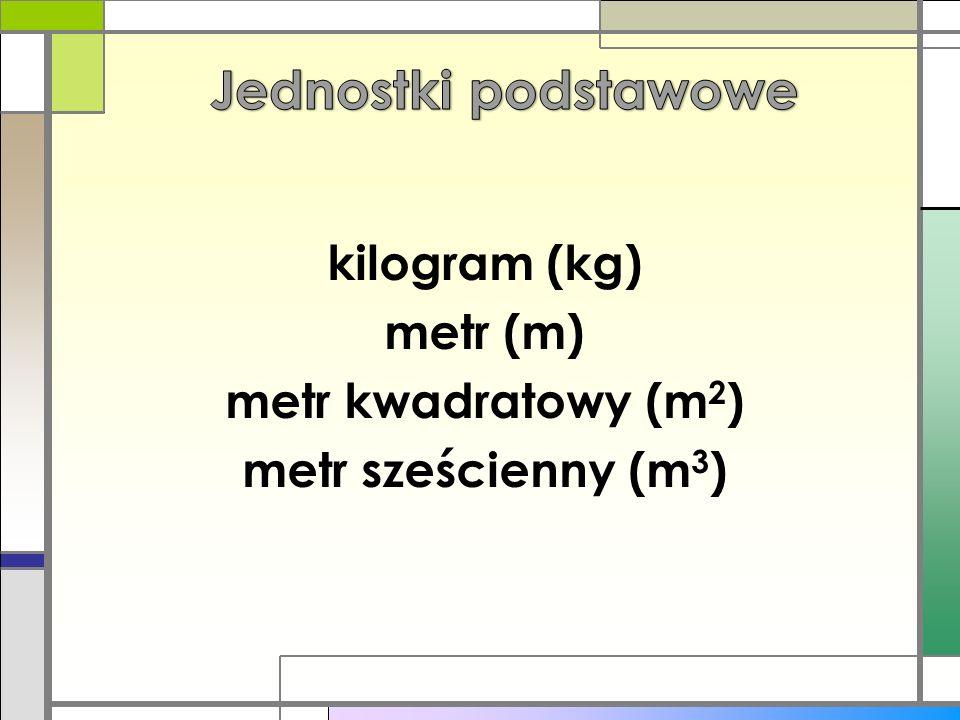 Jednostki podstawowe kilogram (kg) metr (m) metr kwadratowy (m2)