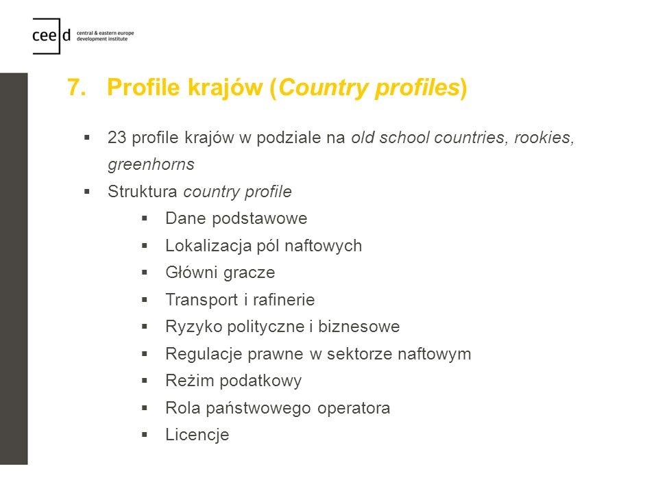7. Profile krajów (Country profiles)