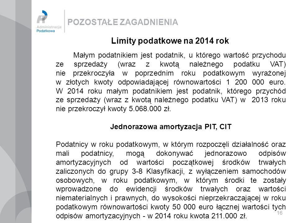 Limity podatkowe na 2014 rok