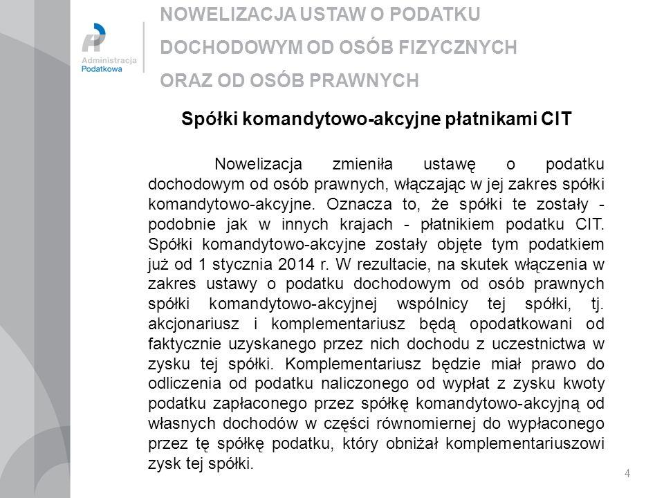 Spółki komandytowo-akcyjne płatnikami CIT