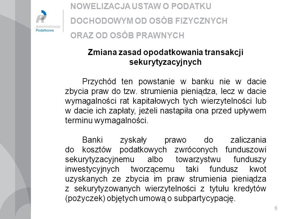 Zmiana zasad opodatkowania transakcji sekurytyzacyjnych