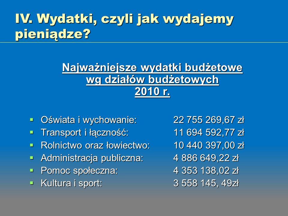 Najważniejsze wydatki budżetowe wg działów budżetowych 2010 r.