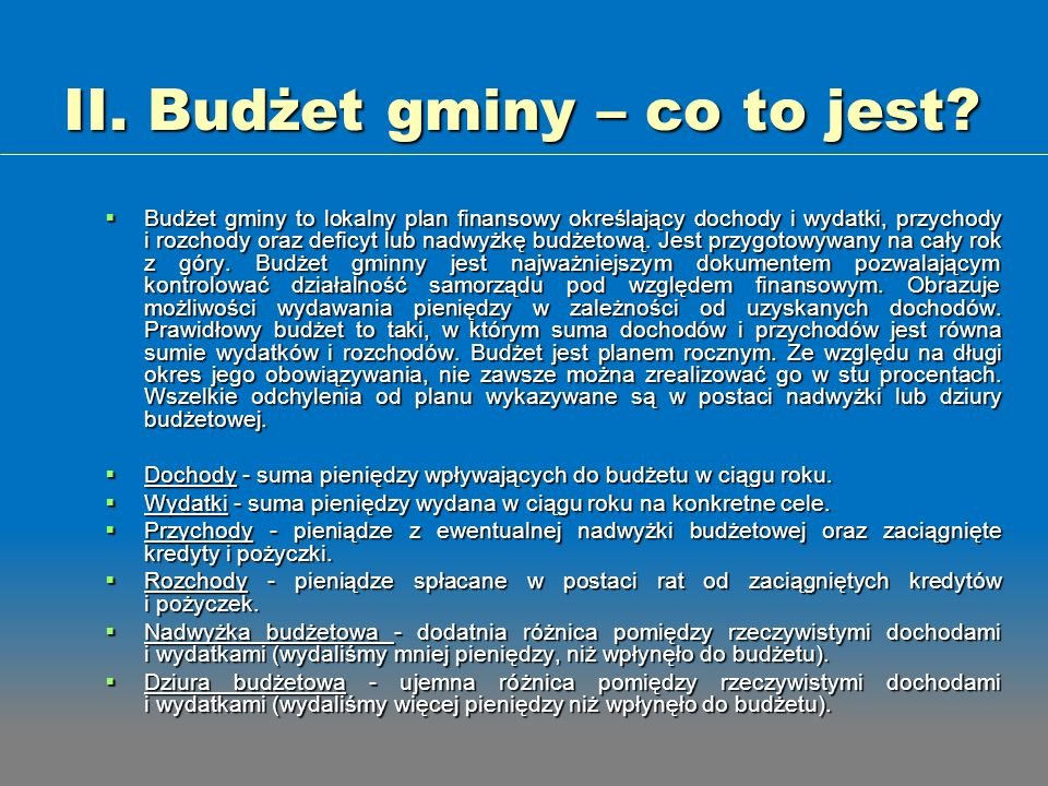 II. Budżet gminy – co to jest