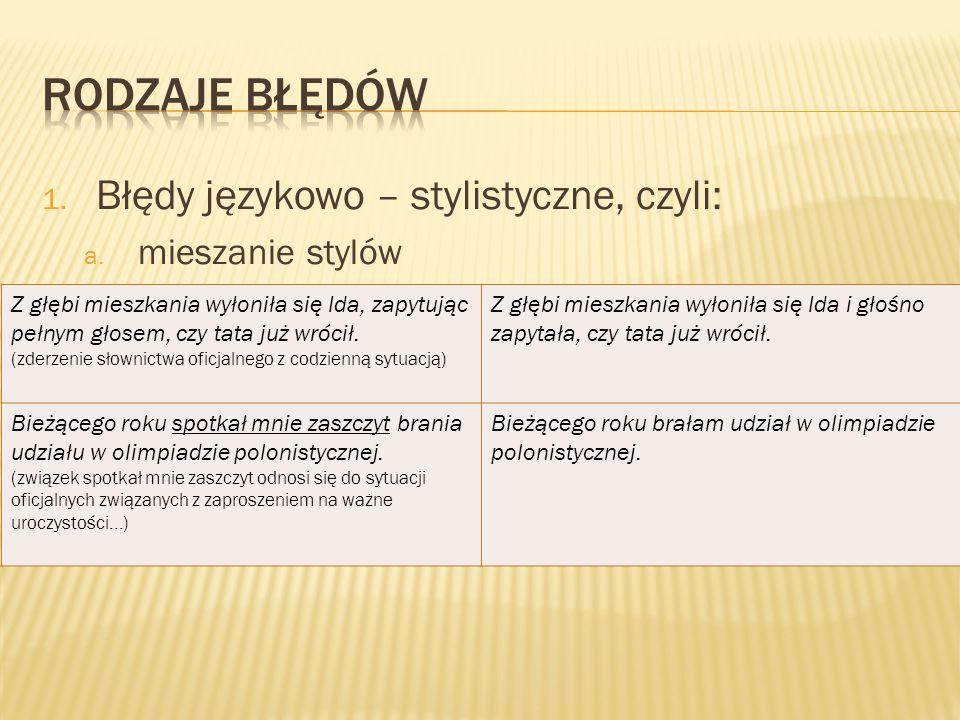 Rodzaje błędów Błędy językowo – stylistyczne, czyli: mieszanie stylów