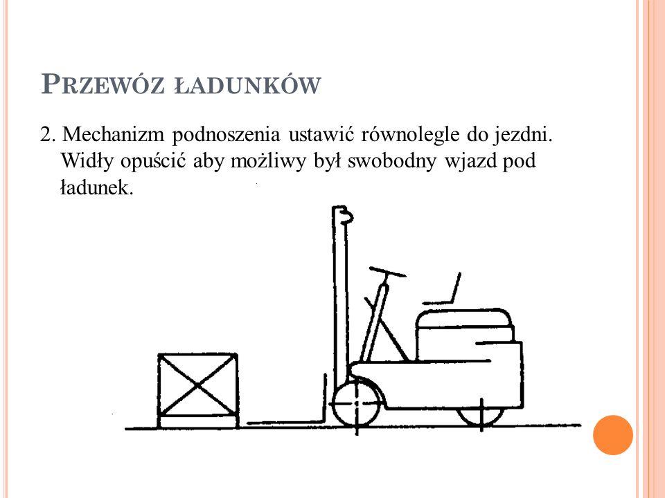 Przewóz ładunków 2. Mechanizm podnoszenia ustawić równolegle do jezdni.