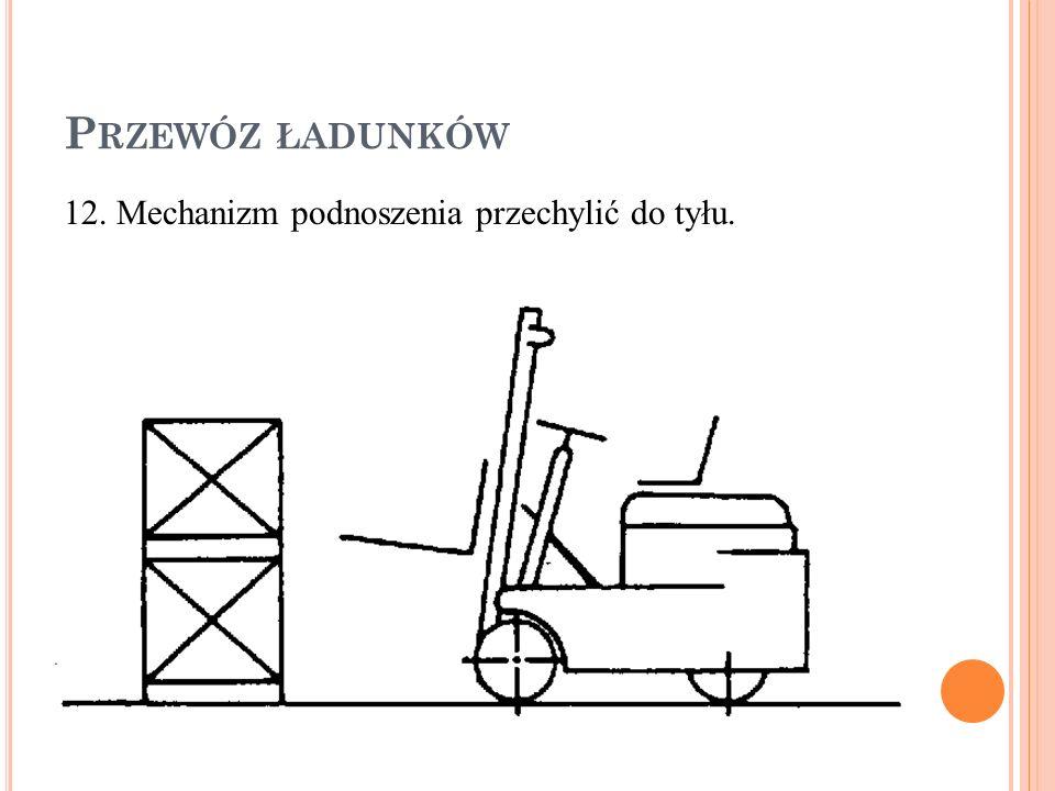 Przewóz ładunków 12. Mechanizm podnoszenia przechylić do tyłu.
