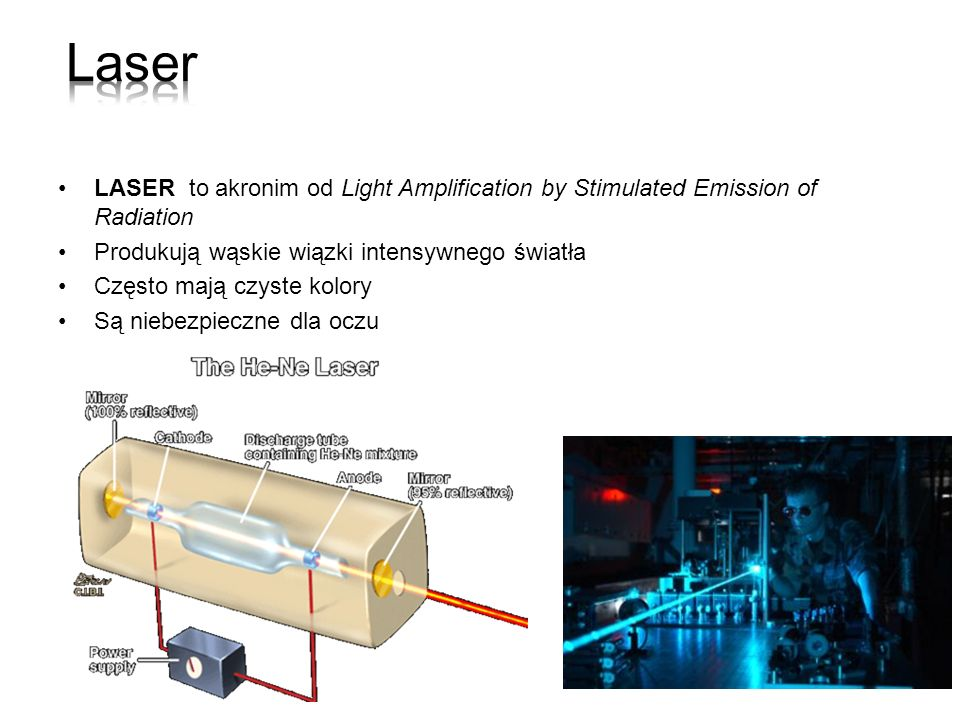 Laser LASER to akronim od Light Amplification by Stimulated Emission of Radiation. Produkują wąskie wiązki intensywnego światła.