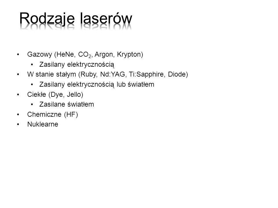 Rodzaje laserów Gazowy (HeNe, CO2, Argon, Krypton)