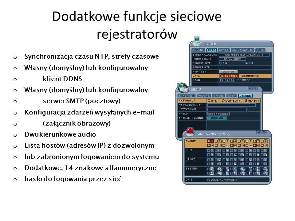 Dodatkowe funkcje sieciowe rejestratorów