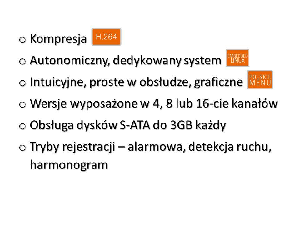 Kompresja Autonomiczny, dedykowany system. Intuicyjne, proste w obsłudze, graficzne. Wersje wyposażone w 4, 8 lub 16-cie kanałów.