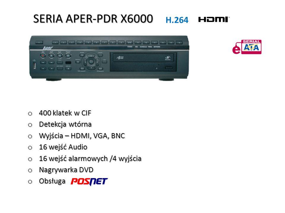 SERIA APER-PDR X6000 H.264 400 klatek w CIF Detekcja wtórna