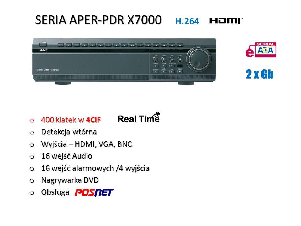 SERIA APER-PDR X7000 2 x Gb H.264 400 klatek w 4CIF Detekcja wtórna