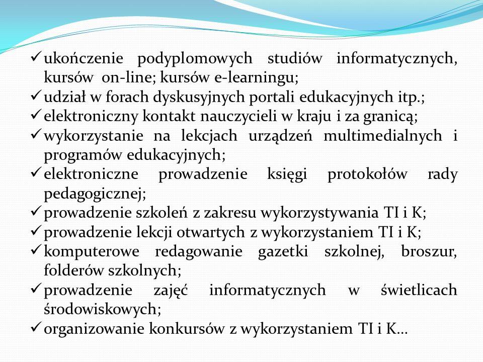 ukończenie podyplomowych studiów informatycznych, kursów on-line; kursów e-learningu;