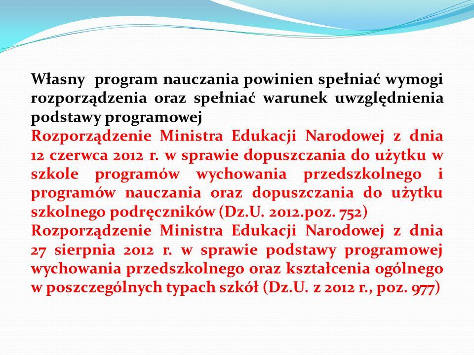 Własny program nauczania powinien spełniać wymogi rozporządzenia oraz spełniać warunek uwzględnienia podstawy programowej