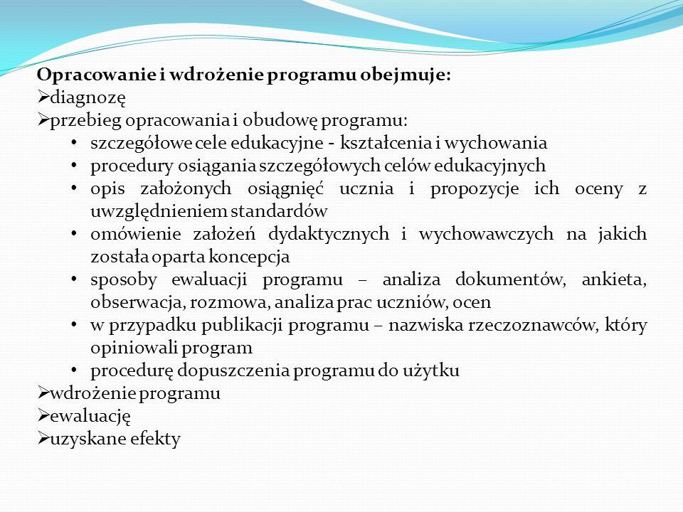 Opracowanie i wdrożenie programu obejmuje: