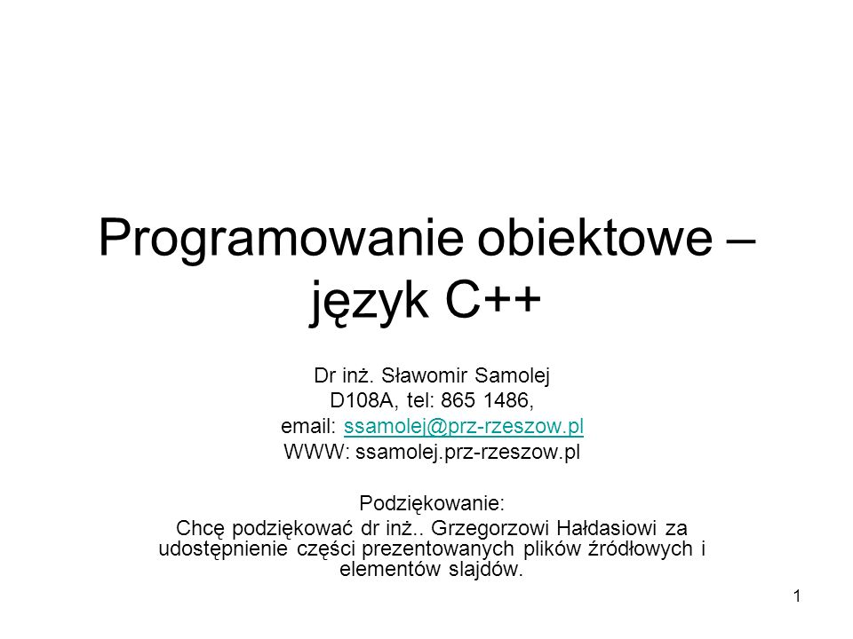 Programowanie obiektowe – język C++