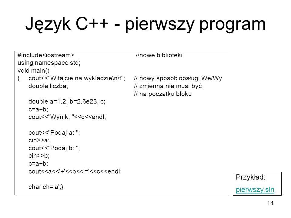 Język C++ - pierwszy program