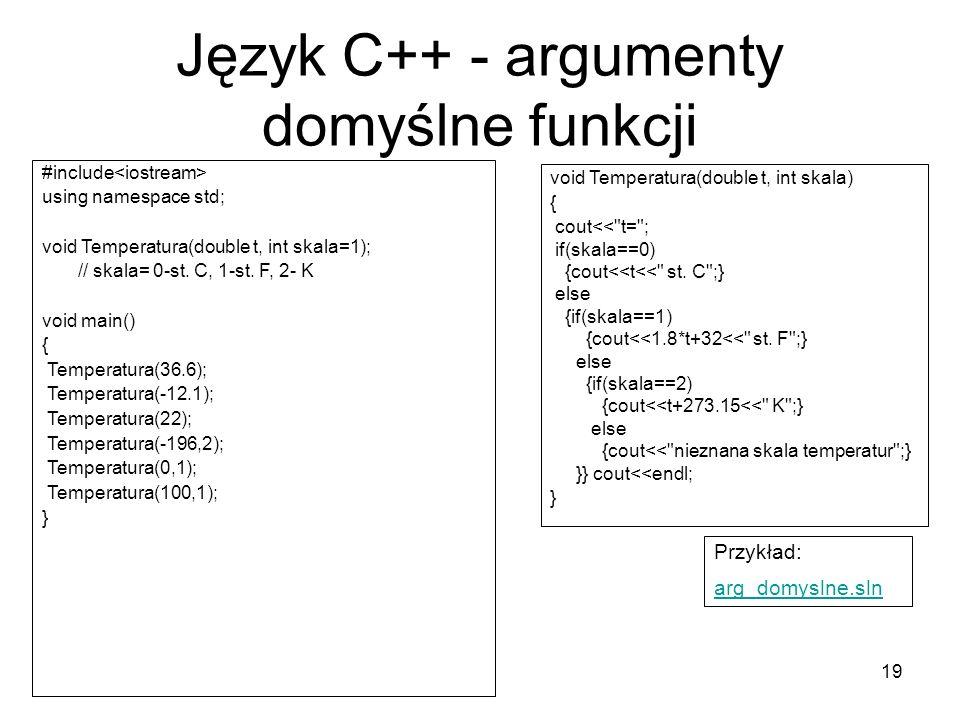 Język C++ - argumenty domyślne funkcji