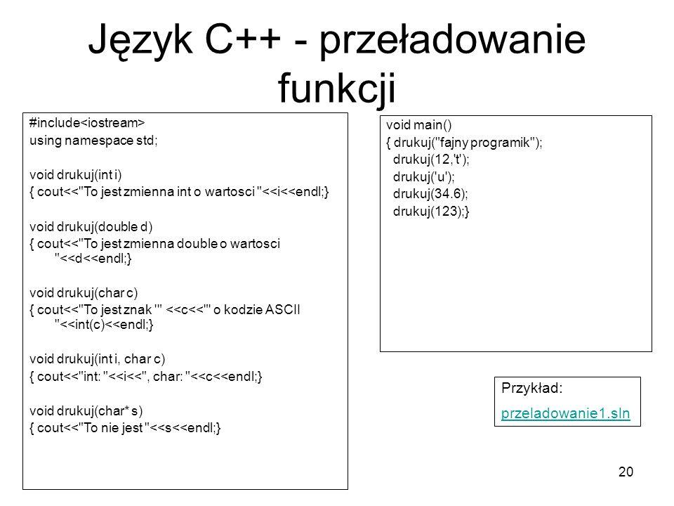 Język C++ - przeładowanie funkcji