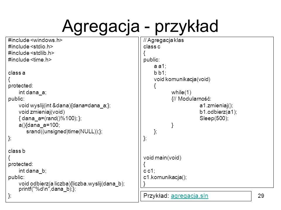 Agregacja - przykład Przykład: agregacja.sln