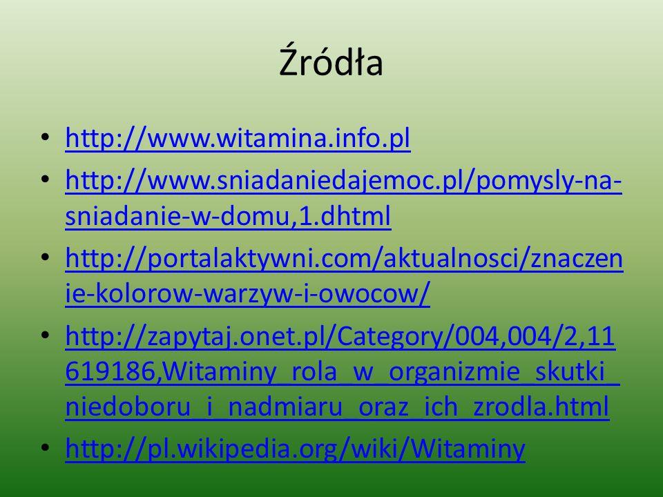 Źródła http://www.witamina.info.pl