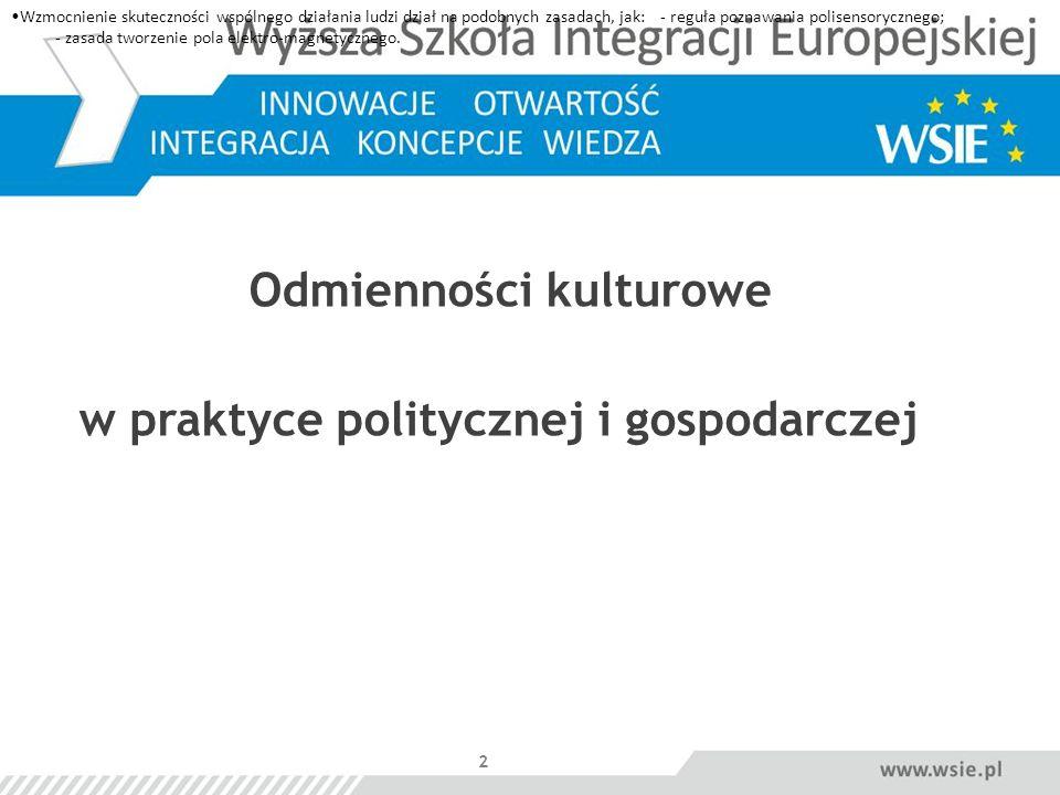 Odmienności kulturowe w praktyce politycznej i gospodarczej