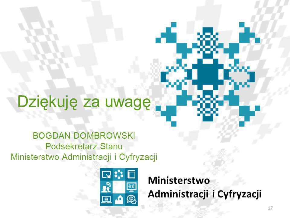 Dziękuję za uwagę BOGDAN DOMBROWSKI Podsekretarz Stanu Ministerstwo Administracji i Cyfryzacji