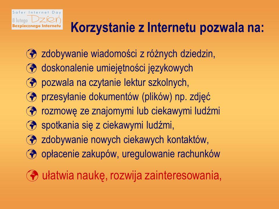 Korzystanie z Internetu pozwala na: