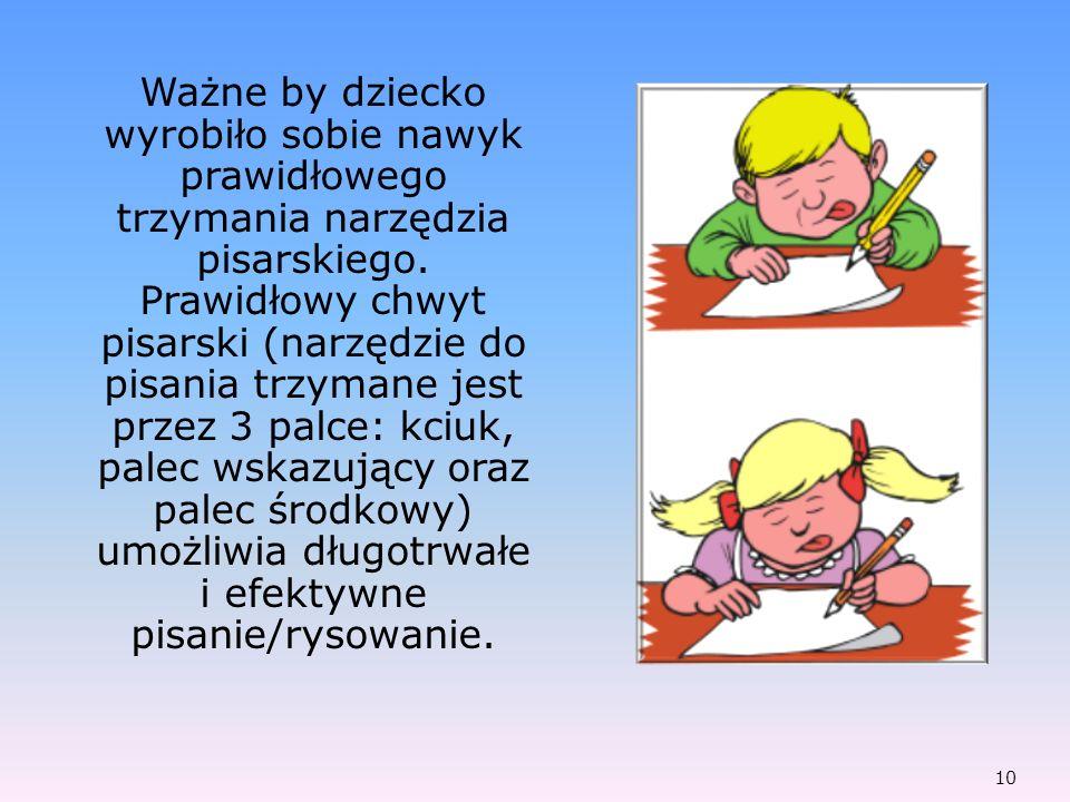Ważne by dziecko wyrobiło sobie nawyk prawidłowego trzymania narzędzia pisarskiego.